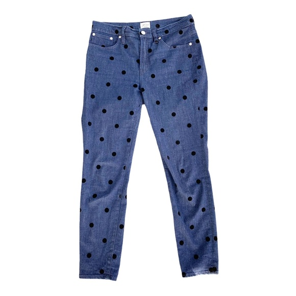 J. Crew High Rise Toothpick Jeans Polka Dots 29